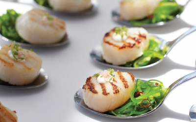 Silver Spoon Scallops with Japanese Salad and Wasabi Lime Cream