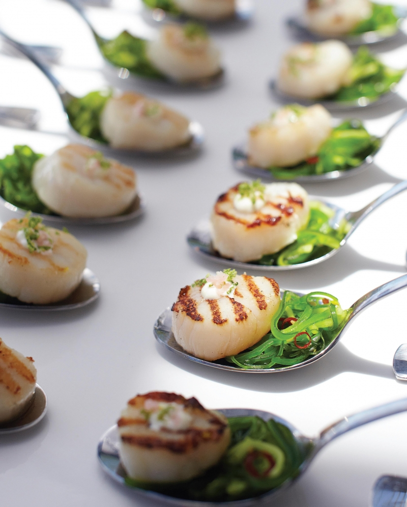 Silver Spoon Scallops with Japanese Salad and Wasabi Lime Cream | Anna Gare Official Website